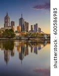 city of melbourne. cityscape... | Shutterstock . vector #600586985