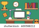 pixel art desk room interior... | Shutterstock .eps vector #600588212