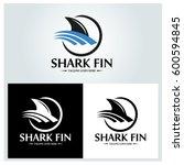 shark fin logo design template. ... | Shutterstock .eps vector #600594845