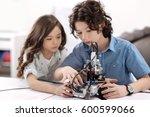 smart children working with... | Shutterstock . vector #600599066