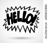 lettering hello  vector label.... | Shutterstock .eps vector #600601886