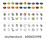 set of icons in different style ... | Shutterstock .eps vector #600602498