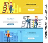 construction team horizontal... | Shutterstock .eps vector #600606266