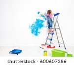repair in the apartment. happy... | Shutterstock . vector #600607286