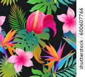 summer exotic floral tropical... | Shutterstock .eps vector #600607766