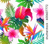 exotic leaves and flowers on... | Shutterstock .eps vector #600607772