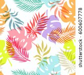 summer exotic floral tropical... | Shutterstock .eps vector #600607778