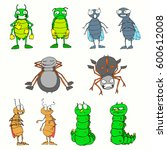 set of vector colored insects....   Shutterstock .eps vector #600612008