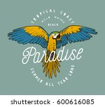 colorful paradise parrot grunge ... | Shutterstock .eps vector #600616085