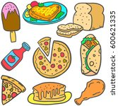 doodle of food various style... | Shutterstock .eps vector #600621335