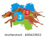greyhound dogs racing. stylized ... | Shutterstock .eps vector #600623822