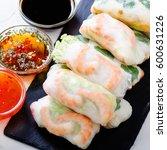 vietnamese spring rolls   rice... | Shutterstock . vector #600631226