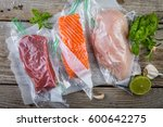 beef  chicken and salmon in... | Shutterstock . vector #600642275