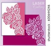 laser cut wedding invitation or ... | Shutterstock .eps vector #600644246