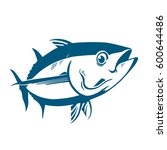tuna fish symbol on white... | Shutterstock .eps vector #600644486
