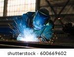 welders working at the factory... | Shutterstock . vector #600669602