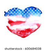 American Flag In Heart Shape. ...