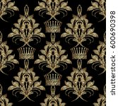 embroidery style floral damask... | Shutterstock .eps vector #600690398