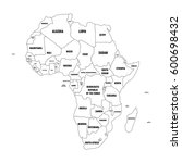 political map of arfica... | Shutterstock .eps vector #600698432