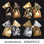set of sparkling bows with wild ... | Shutterstock .eps vector #600699212