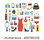 woman's things set. girl...   Shutterstock .eps vector #600700235
