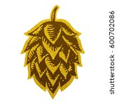 hop gold brewery beer icon flat ...   Shutterstock . vector #600702086