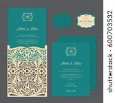 wedding invitation or greeting... | Shutterstock .eps vector #600703532