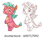 cute cartoon little dragon ... | Shutterstock .eps vector #600717092