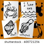 graphic drawings of marine... | Shutterstock .eps vector #600721256