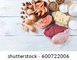assortment of healthy protein... | Shutterstock . vector #600722006