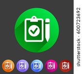 clipboard checklist icon flat... | Shutterstock . vector #600723692