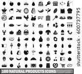 100 natural products icons set... | Shutterstock .eps vector #600737795