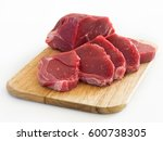 raw beef piece and slices on... | Shutterstock . vector #600738305