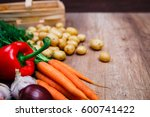 vegetables. potatoes  carrot... | Shutterstock . vector #600741422