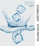 transparent vector water splash ... | Shutterstock .eps vector #600748832