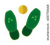 leprechaun footprints and gold... | Shutterstock .eps vector #600750668