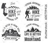 set of extreme adventure badges.... | Shutterstock .eps vector #600759416