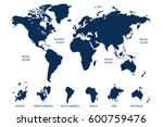 blue world map vector on white... | Shutterstock .eps vector #600759476