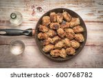 cooking food. meat balls on the ... | Shutterstock . vector #600768782