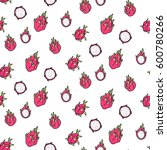 seamless pattern of dragonfruit ... | Shutterstock .eps vector #600780266