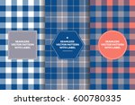 grey  navy and coral tartan and ... | Shutterstock .eps vector #600780335