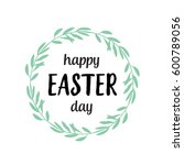 happy easter day lettering in... | Shutterstock .eps vector #600789056