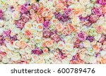 Stock photo flowers wall background with amazing red and white roses wedding decoration hand made 600789476