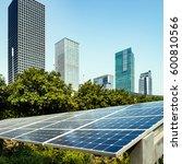 solar panels and urban... | Shutterstock . vector #600810566