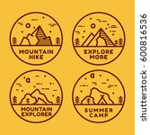 linear mountain badge set.... | Shutterstock .eps vector #600816536
