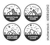 linear mountain badge set.... | Shutterstock .eps vector #600816542