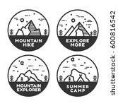 linear mountain badge set.... | Shutterstock .eps vector #600816542