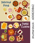 mediterranean and asian cuisine ... | Shutterstock .eps vector #600820862