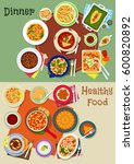 healthy dinner food icon of... | Shutterstock .eps vector #600820892