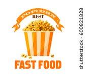 popcorn bucket icon. sweet... | Shutterstock .eps vector #600821828